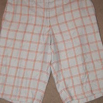 Paul & Joe France Plaid Cream Orange Aqua Shorts Rayon 38 Photo