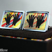 Paul Smith  Multi Stripe Gloves Hands Hologram  T Bar Cufflinks New box& Bag Photo