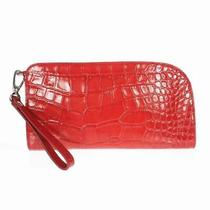 Pavitra Pino Gross Leather Clutch Bag Croc-Shaped Push Red Pnsh0400521 Photo