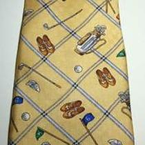 Payne Stewart 100% Silk Tie Golf Clubs Balls Shoes Flags Bags Hats Yellow(ish)  Photo