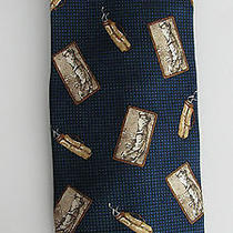 Payne Stewart Men's Silk Tie Navy White and Tan Golf Bags/swing Photo