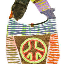 Peace Sign Hobo Style Bag W/ Cell Phone Pocket Photo