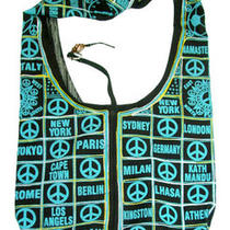 Peace Signs Cotton Hobo Bag W/ Shoulder Strap Photo