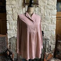 Peach Beige Cotton Maternity Empire Blouse Peasant Tunic Blush Small Photo