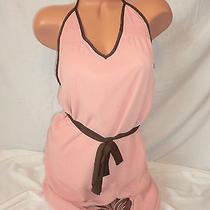 Pearl Blush Pink Brown Flower Bling Halter Summer Dress S Photo
