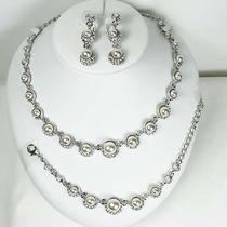 Pearl Bridal Choker Necklace Earring Bracelet Set Snk Made W/ Swarovski Crystal Photo
