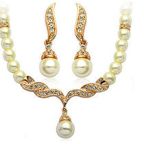 Pearl Bridal Jewelry Sets Cream Faux Rhinestone Rose Gold  Photo
