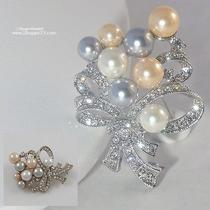 Pearl Pin Brooch Hair Jewelry Gold Silver Crystal Pearl Bride Bridesmaid Boxed  Photo