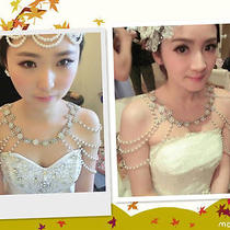 Pearls Flower Shining Rhinestones Shoulder Chain Necklace Wedding Bride Jewelry Photo