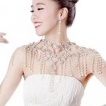 Pearls Flowers Shining Rhinestones Shoulder Chain Necklace Wedding Bride Jewelry Photo