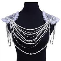 Pearls Flowers Shining Rhinestones Shoulder Chain Necklace Wedding Bride Jewelry Photo