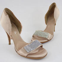 Pedro Garcia Nwob Blush Satin Rhinestone Accent Heel Sandal Shoe Sz 38.5 8.5 Photo