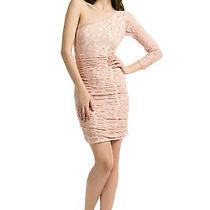 Pencey Blushing Ballerina Dress Lace Faux Pearl One Shoulder Dress Sz 6 Nwt 350 Photo