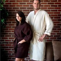 Pendergrass Inc. 5479 Beige Waffle Robe W-Brown Piping Photo