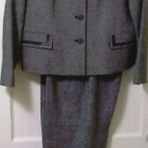 Pendleton Lambs Wool Blazer Jacket & Pants Suit Set Sz 12 Petite Gray Career Euc Photo