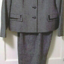 Pendleton Lambs Wool Blazer Jacket & Pants Suit Set Sz 12 Petite Gray Career Euc Photo