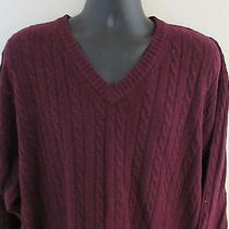 Pendleton Men's Sweater Xxl v Neck Burgundy Nwt 100% Lambs Wool Wine Photo