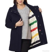 Pendleton Navy Wool Campbell Water Resistant Coat 1916 Glacier Stripe Hudson Bay Photo