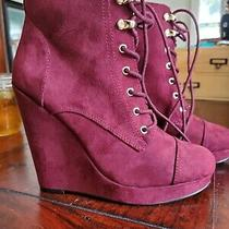 Perfect Condition Faux Suede Magenta Pink High Heel Wedges - Size 8  Photo