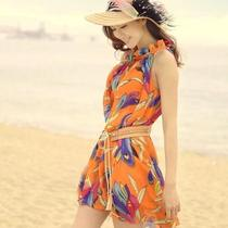 Perfect Leaf Collar Loose Chiffon Wave of Lotus Printed Beach Skirt Dress Fancy Photo