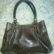 Perlina - Gorgeous Olive Green Leather Croc Patterned Satchel Purse Tote Photo