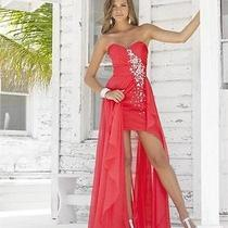 Persimmon Prom Formal Dress Gown 9615 Rhinestones /beaded by Blush Prom Size 2 Photo