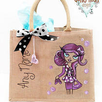Personalised Jute Bag Hand Painted Medium Bag - Brooke Photo