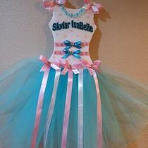 Personalized Aqua & Pink Tutu Bow Holder Photo