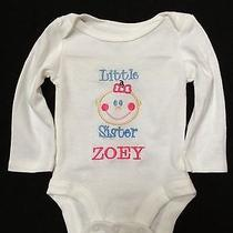 Personalized Baby Girl Onesie Little Sister Any Size With Name Photo