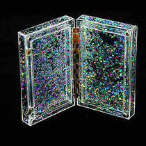 Perspective Acrylic Silver Sparkle Clutch Box Evening Acrylic Shine Flowing Bag Photo