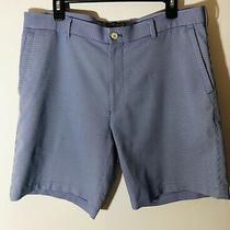 Peter Millar Men's Size 36 Blue Check Wicking Element 4 Flat Front Golf Shorts Photo