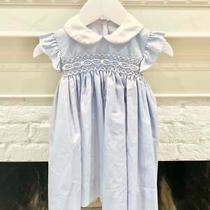 Petit Bebe Smocked Baby Blue Bishop Dress With Peter Pan Collar 18m Photo