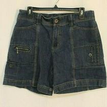 Petites Woman Dark Blue  Eddie Bauer Casual Cargo Jean Shorts Size 12 Cotton Photo