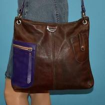 Petusco Purple & Brown Leather Crossbody Shoulder Hobo Bag Purse Made in Spain Photo