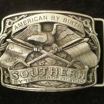 Pewter Belt Buckle American by Birth Southern by the Grace of God Vintage 1986 Photo