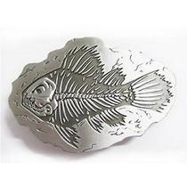 Pewter Bone Fish Fossil Belt Buckle Photo