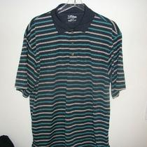 Pga Tour Mens Blue White Aqua Striped S/s Golf Shirt Size Xl Euc Photo