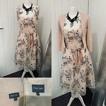 Phase Eight Blush Nude Net Overlay Floral Dress & Matching Shrug Cardigan Sz 12 Photo