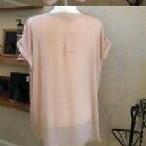 Philosophy Womens Blush Pink v-Neck Cuff Cap Sleeve Blouse Size Medium Photo