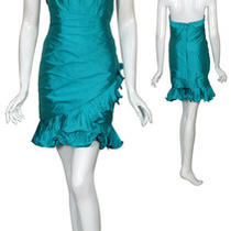 Phoebe Couture Pleated Aqua Silk Cocktail Dress 8 New Photo