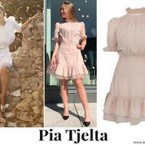 Pia Tjelta Amelia Dress Pintuck Ruffle Pink Blush Short Sleeve Mini New Large L Photo