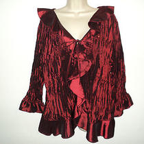 Piano Blouse Top Plus Size 2x Accordian Pleated Red-Black Shine 3/4 Sleeves Poly Photo