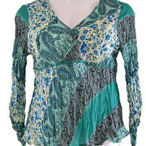 Piano Womens Shirt Top Aqua Floral Paisley Accordion Pleats Rhinestones-Xl-Euc Photo