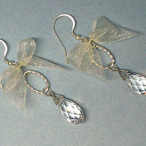Pidraya Bridal Swarovski Elements Dangle Ivory Bow Earrings Photo