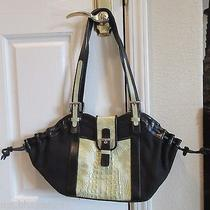 Piero Acutis Black Green Leather Canvas Croc Print Metallic Bag Purse Handbag Photo
