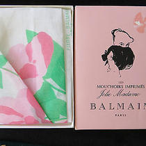 Pierre Balmain 1960s Handkerchief  Floral Print Bright Colors  Original Box Photo