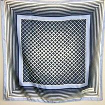 Pierre Balmain Blue Geometric Hand Rolled Silk Scarf Photo