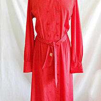 Pierre Balmain Dress Coat Trench Red Polka Dot Vintage 70s Nos Belted Maxi 14 Photo