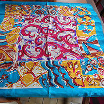 Pierre Balmain Paris Multi-Color Bright Print Large Silk Scarf Photo