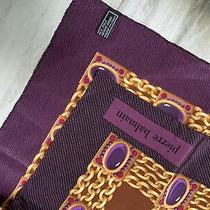Pierre Balmain Reine Seide Purple/brown 100% Silk Scarf 34x34 Photo